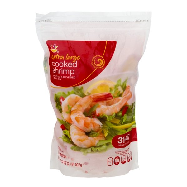Giant Cooked Shrimp Tail On Large 31-40 ct per lb Frozen