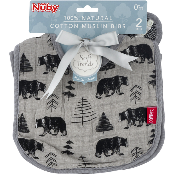 Nuby Cotton Muslin Bibs Bears 100% Natural 0+m