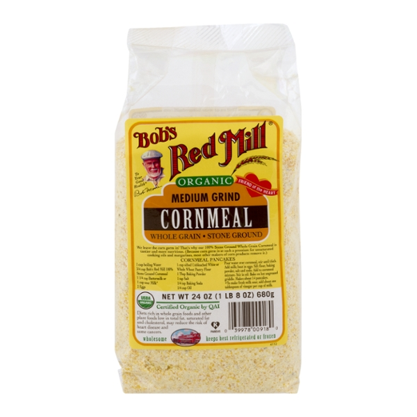 Bob's Red Mill Medium Grind Corn Meal Stone Ground Whole Grain Organic
