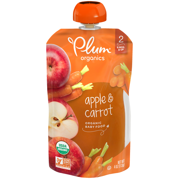 Plum Organics Stage 2 Baby Food Apple & Carrot Organic