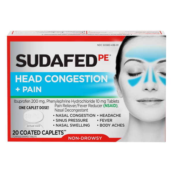 Sudafed PE Head Congestion + Pain Non Drowsy Coated Caplets