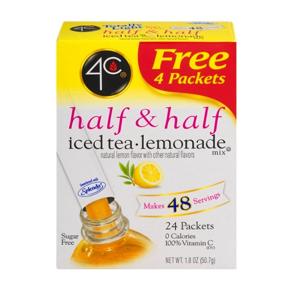 4C Totally Light 2 Go Mix Half & Half Iced Tea Lemonade - 24 ct