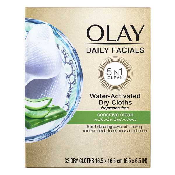 Olay Daily Facials 5-in-1 Water Activated Sensitive Clean Dry Cloths