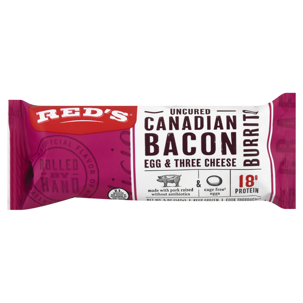 Red's Natural Foods Burrito Canadian Style Bacon Egg & Cheese Frozen