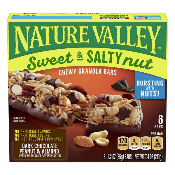 Nature Valley Sweet & Salty Nut Granola Bars Dark Cho/Peanut/Almond - 6 ct