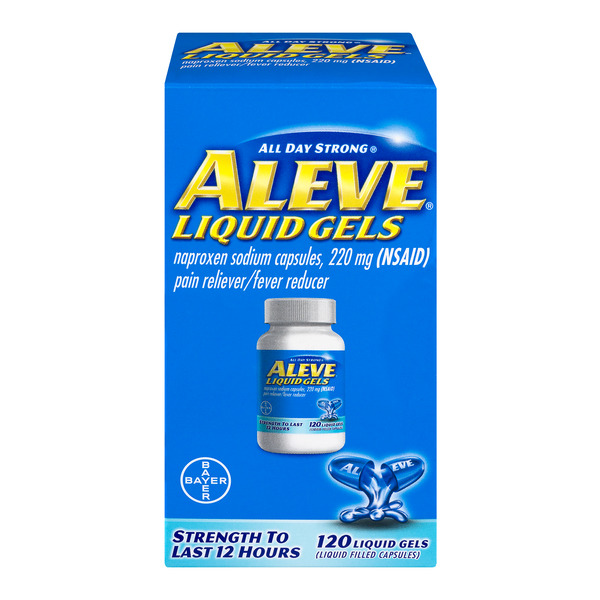 Aleve Naproxen Sodium Pain Relief Fever Reducer Liquid Gels 220 mg
