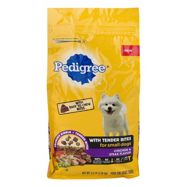 Pedigree Tender Bites Dry Dog Food for Small Dogs Chicken & Steak