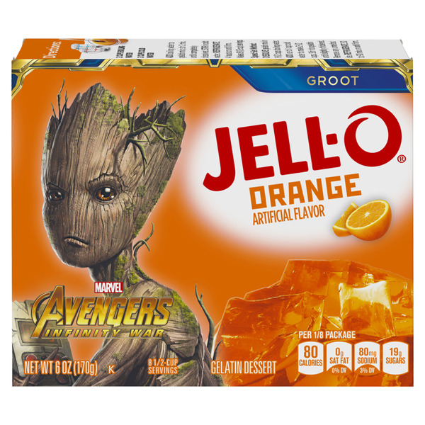 Jell-O Gelatin Dessert Orange Marvel Avengers Infinity War Groot