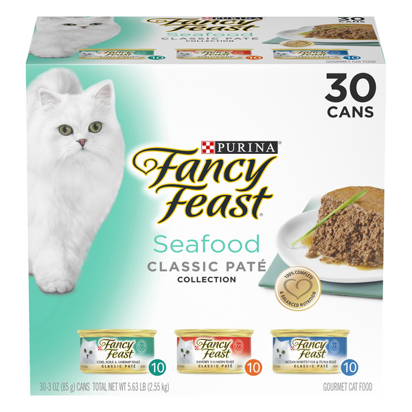 Fancy Feast Seafood Classic Pate Adult Wet Cat Food Varity Pack - 30 ct