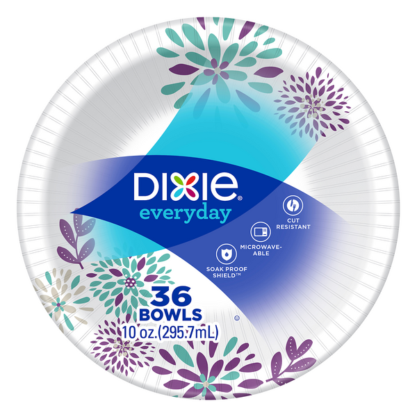 Dixie Everyday Paper Bowls Decorated Soak Proof Shield 10 oz