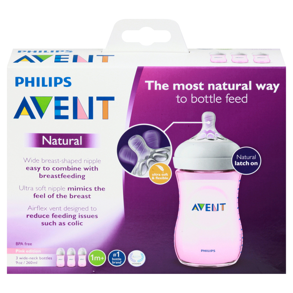 Philips Avent Baby Bottles Natural Wide-Neck 1m+