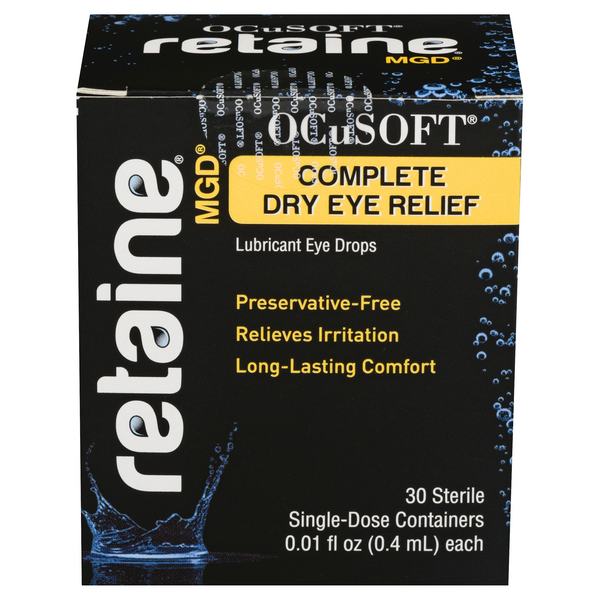 OCuSoft Retaine MGD Lubricant Eye Drops Relief Single-Dose for Dry Eyes