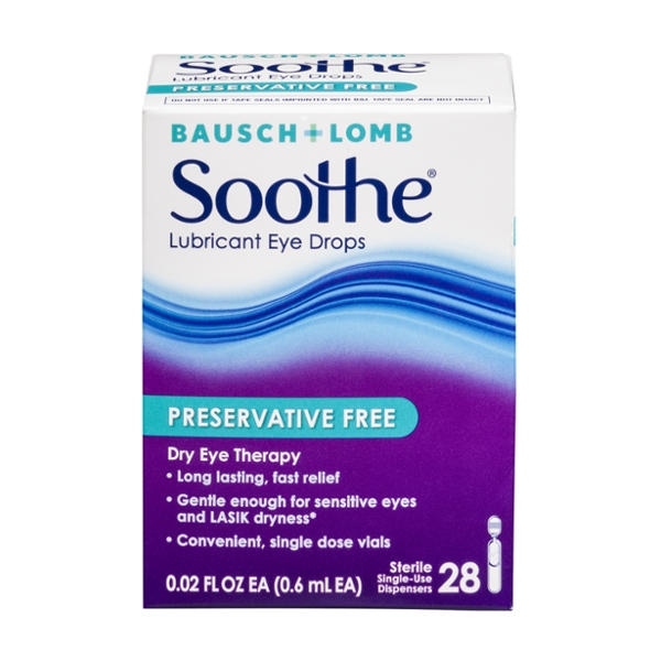 Bausch + Lomb Soothe Lubricant Eye Drops Preservative Free Single-Use