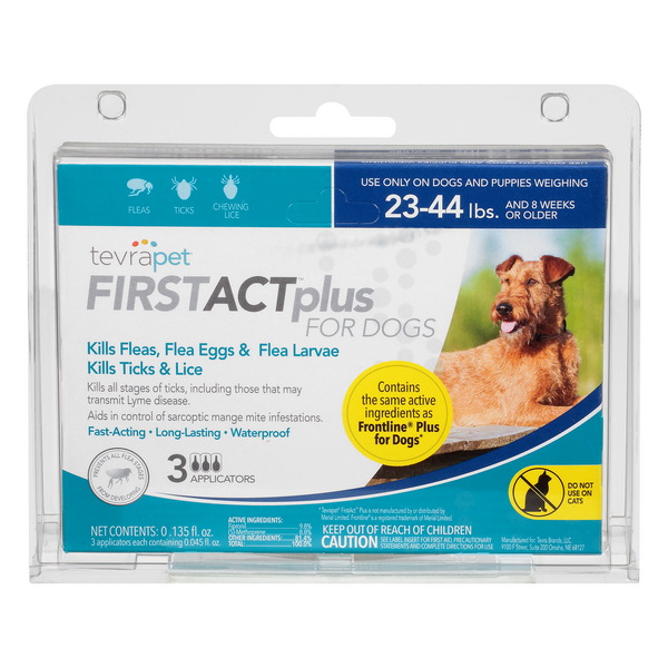 TevraPet FirstAct Plus for Dogs Flea & Ticks Prevention 23-44 lbs - 3 ct
