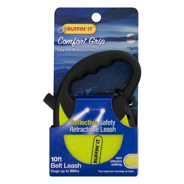 Ruffin' It 10 FT Reflective Safety Retractable Leash Dogs Up to 50 lbs