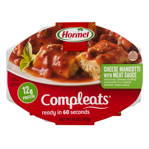 Hormel Compleats Cheese Manicotti with Meat Sauce Microwavable