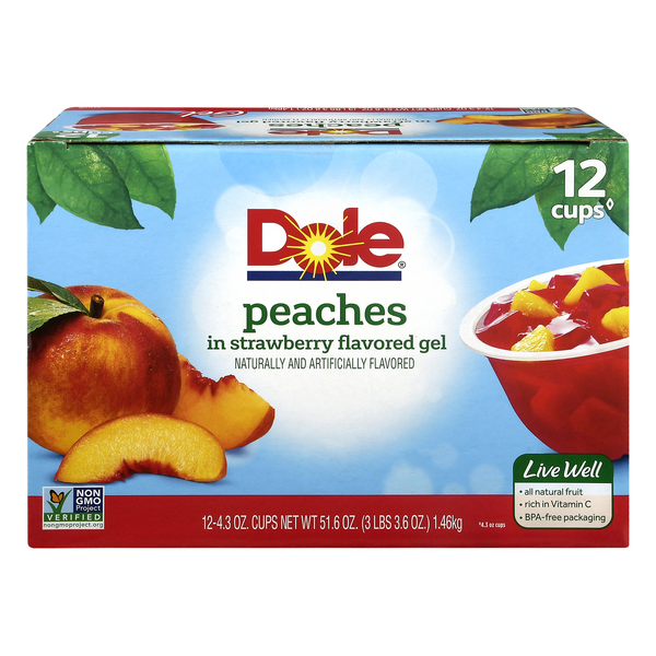 Dole Fruit Bowls Peaches in Strawberry Gel - 12 ct