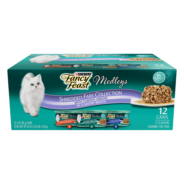 Fancy Feast Medleys Shredded Fare Collection Wet Cat Food Variety - 12 ct