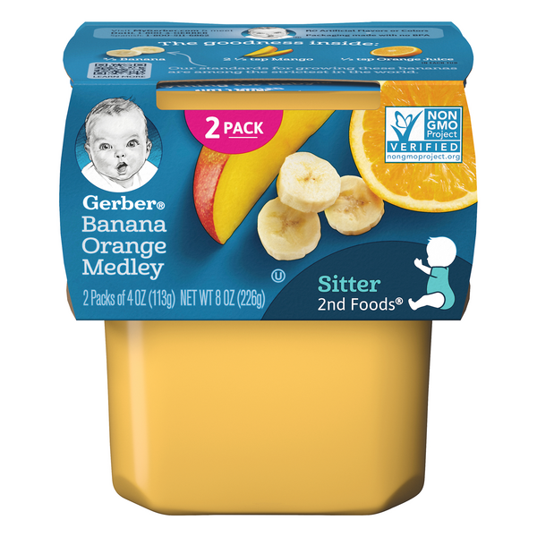 Gerber 2nd Baby Food Banana Orange Medley - 2 ct