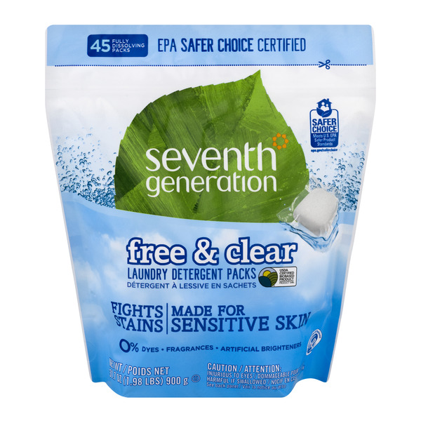 Seventh Generation Laundry Detergent Packs Free & Clear