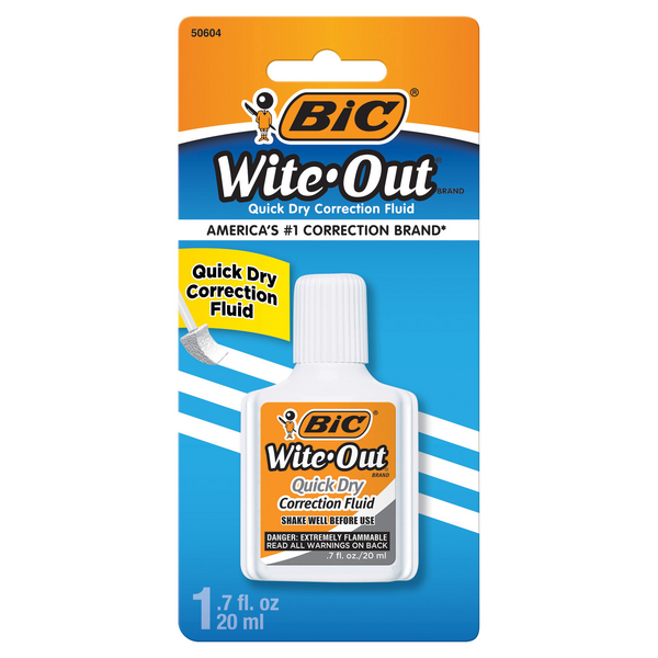 BIC Wite-Out Correction Fluid Quick Dry with Foam Brush