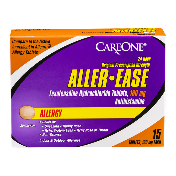 CareOne Aller-Ease 24 Hour Original Prescription Strength 180 mg Allergy
