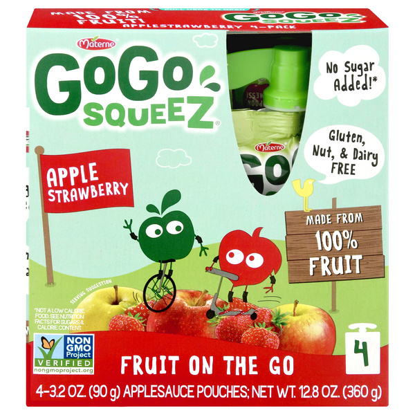 GoGo squeeZ Fruit on the Go Apple Sauce Pouches Apple Strawberry - 4 ct
