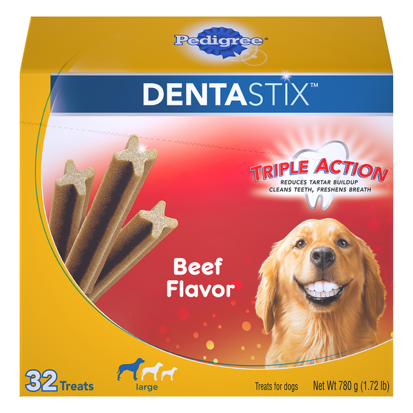 Pedigree DENTASTIX Dog Treats for Large Dogs Triple Action Beef