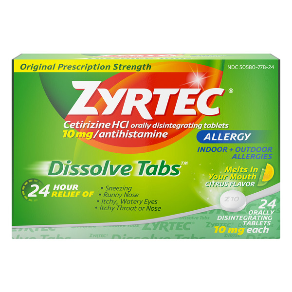 Zyrtec Allergy Relief 24-Hour 10 mg Dissolve Tabs