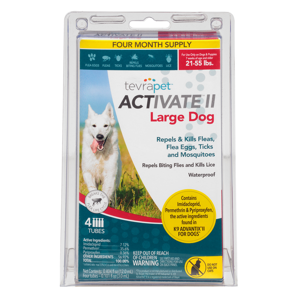 TevraPet Activate II Flea & Ticks for Dogs Large 21-55 Lbs - 4 ct