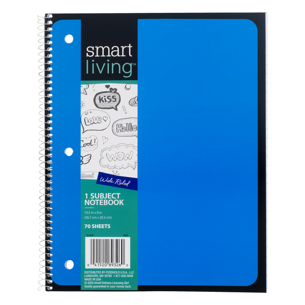 Smart Living Notebook 1 Subject Wide Ruled 10.5 X 8 Inch - 70 Sheets