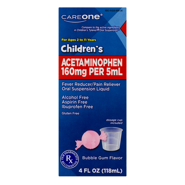 CareOne Children's Acetaminophen Pain Relief Liquid Bubble Gum Flavor