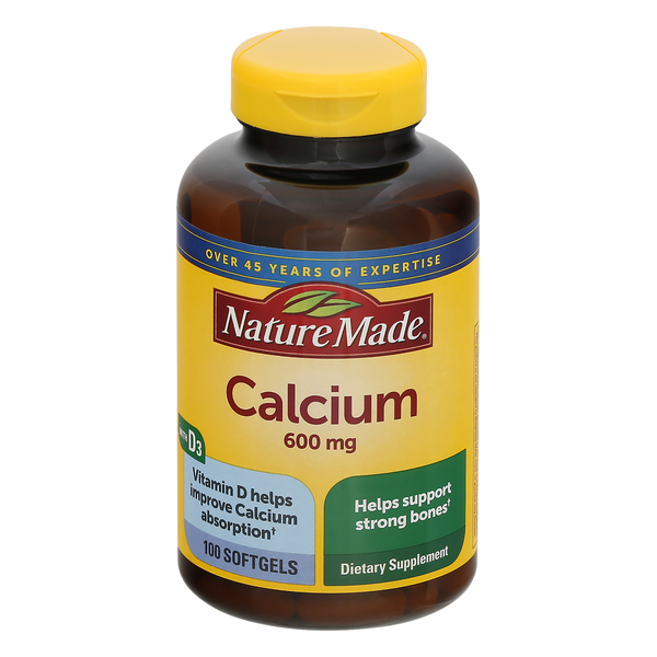 Nature Made Calcium 600 mg with Vitamin D3 Dietary Supplement Softgels