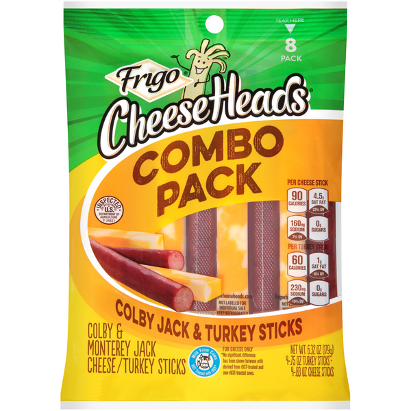 Frigo Cheese Heads Combo Pack Colby Jack & Turkey Sticks - 8 ct