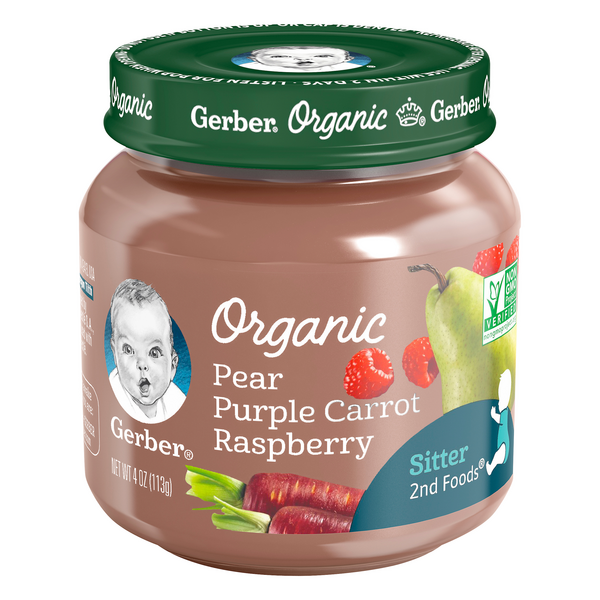 Gerber 2nd Baby Food Pear Purple Carrot Raspberry Organic