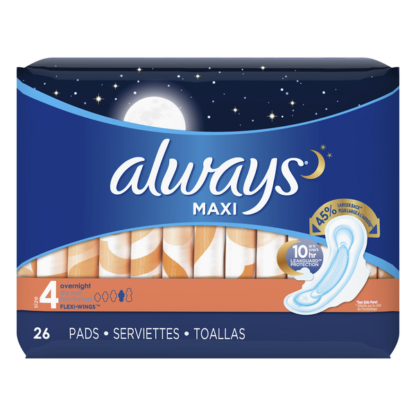 Always Maxi Pads Overnight with Flexi-wings Size 4