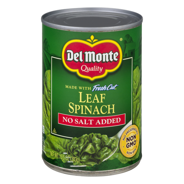 Del Monte Whole Leaf Spinach No Salt Added