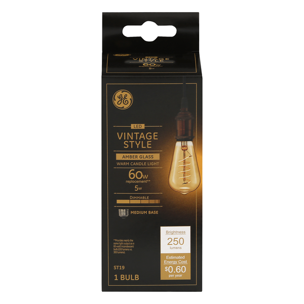 GE LED Vintage Style Amber Glass Light Bulb Dimmable 60w Replacement
