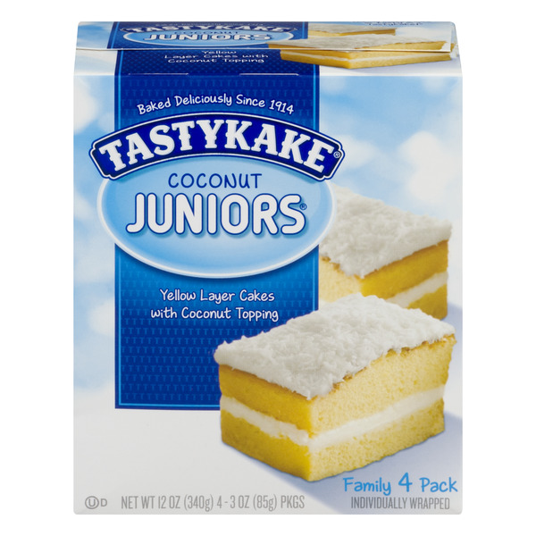 Tastykake Coconut Juniors Yellow Layer Cakes with Coconut Topping - 4 ct