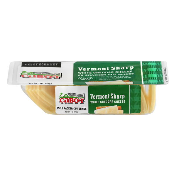 Cabot Cracker Cut Slices Vermont Sharp White Cheddar Cheese - 26 ct