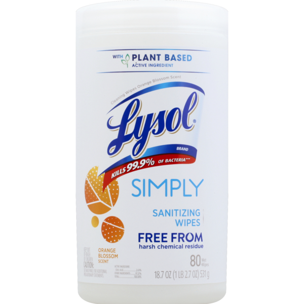 Lysol Simply Sanitizing Wipes Orange Blossom