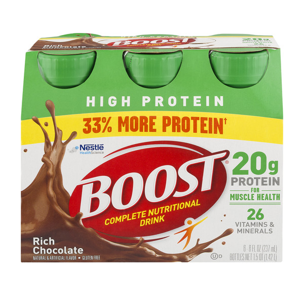 BOOST High Protein Complete Nutritional Drink Rich Chocolate - 6 pk