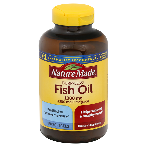 Nature Made Burp-Less Fish Oil 1000 mg (Omega-3 300mg) Supplement Softgels