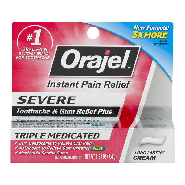 Orajel Instant Pain Relief Cream for Severe Toothache & Gum