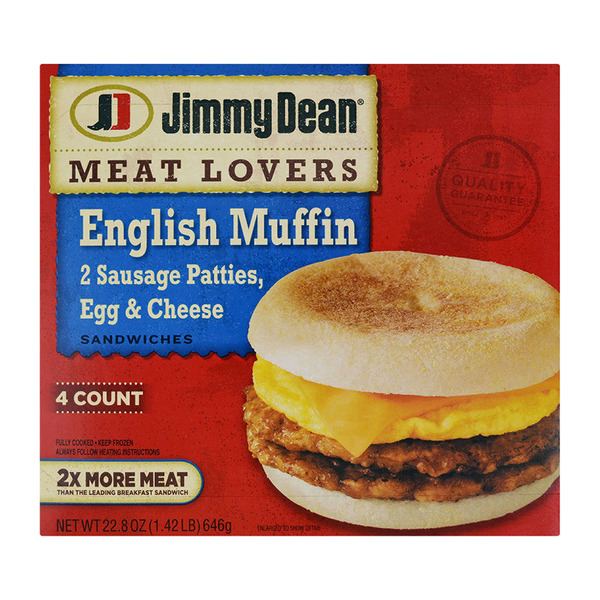 Jimmy Dean Meat Lovers English Muffin Sandwich - 4 ct