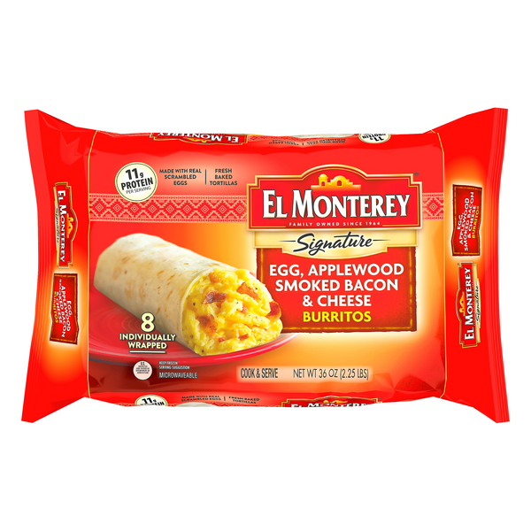 El Monterey Burritos Egg, Applewood Smoked Bacon & Cheese - 8 ct