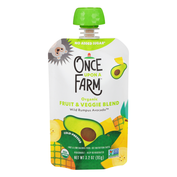 Once Upon a Farm Cold-Pressed Wild Rumpus Avocado Fruit & Veggie Blend