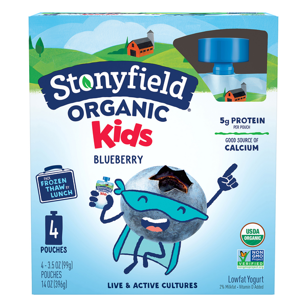 Stonyfield Kids Yogurt Blueberry Pouches Organic - 4 ct