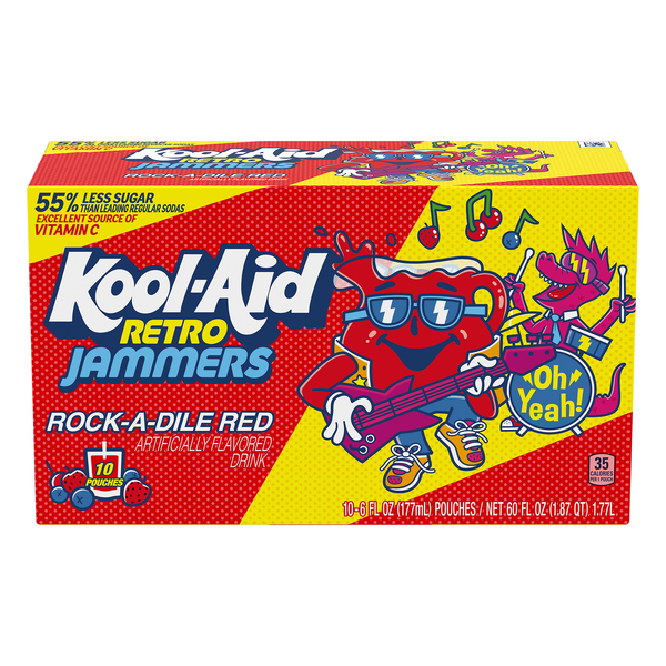 Kool-Aid Retro Jammers Rock-A-Dile Red Juice Drink - 10 pk