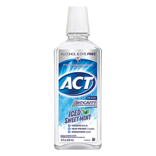 ACT Anticavity Fluoride Mouthwash Iced Sweet Mint Alcohol Free